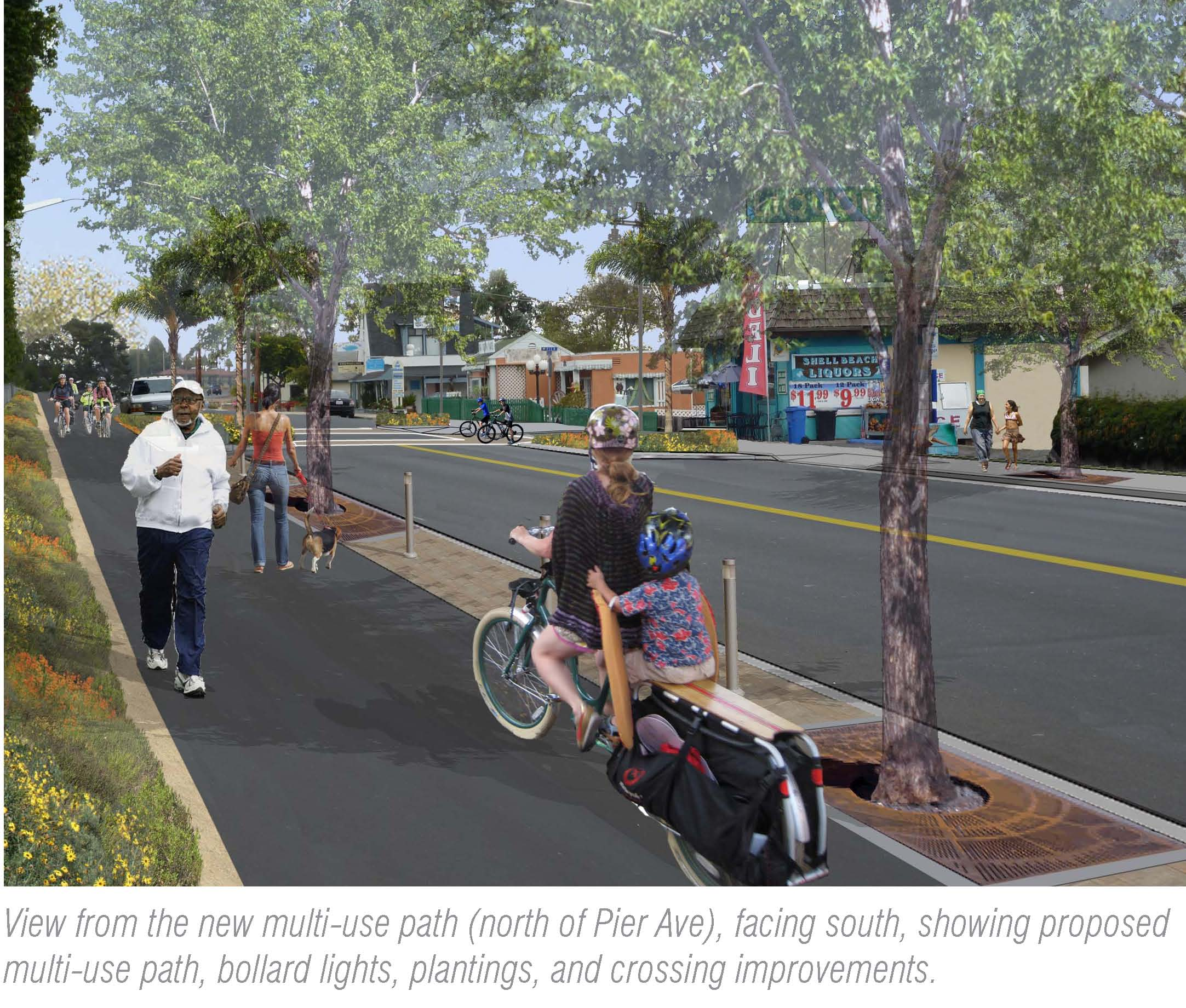 View from the new multi-use path (north of Pier Avenue), facing south, showing proposed multi-use pa